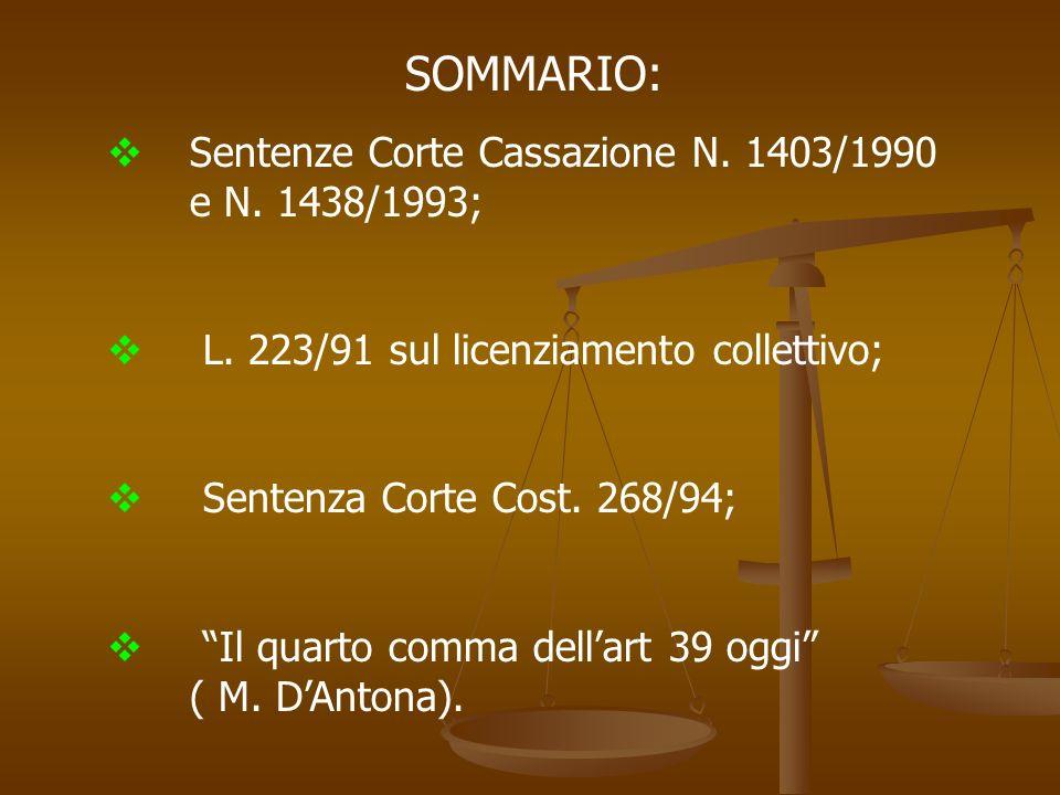 SOMMARIO: Sentenze Corte Cassazione N. 1403/1990 e N. 1438/1993; L. 223/91 sul licenziamento collettivo; Sentenza Corte Cost. 268/94; Il quarto comma