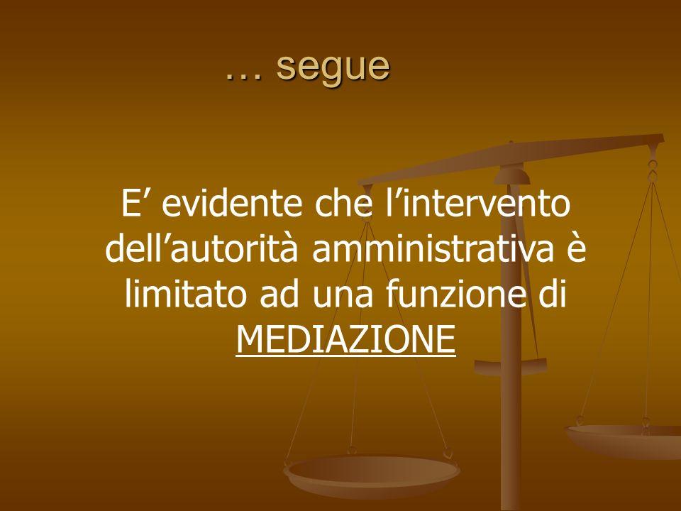 … segue E evidente che lintervento dellautorità amministrativa è limitato ad una funzione di MEDIAZIONE