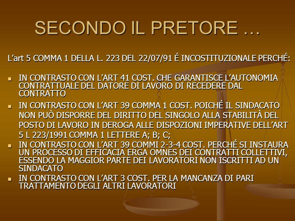 SECONDO IL PRETORE … Lart 5 COMMA 1 DELLA L. 223 DEL 22/07/91 É INCOSTITUZIONALE PERCHÉ: IN CONTRASTO CON LART 41 COST. CHE GARANTISCE LAUTONOMIA CONT