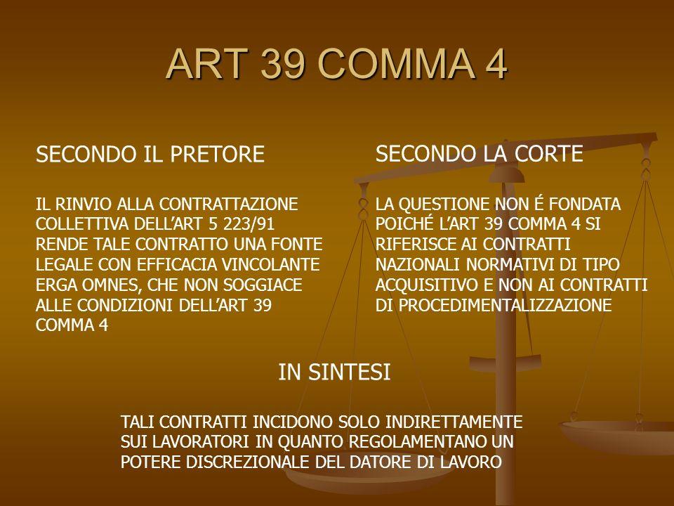ART 39 COMMA 4 SECONDO IL PRETORE IL RINVIO ALLA CONTRATTAZIONE COLLETTIVA DELLART 5 223/91 RENDE TALE CONTRATTO UNA FONTE LEGALE CON EFFICACIA VINCOL