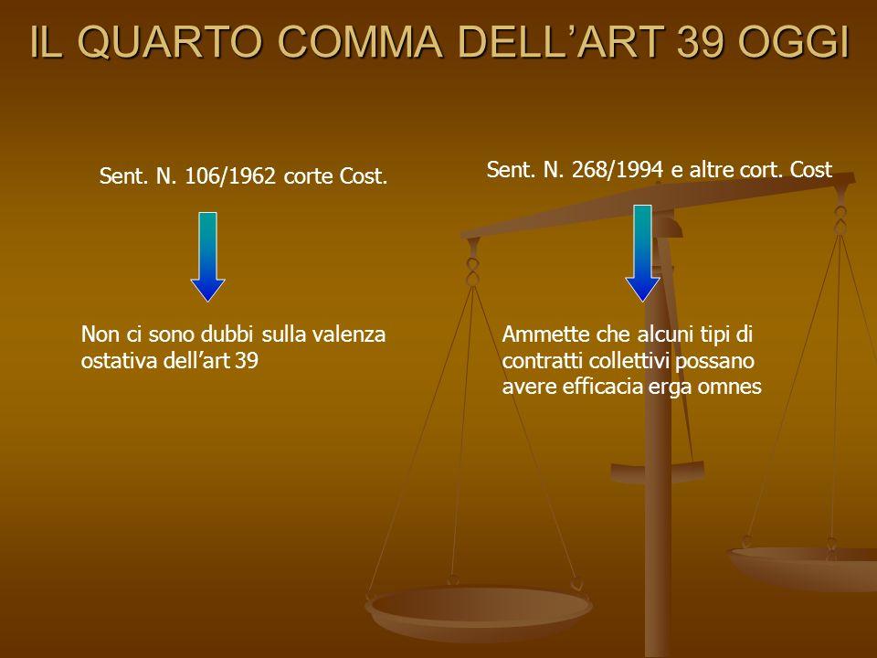 IL QUARTO COMMA DELLART 39 OGGI Sent. N. 106/1962 corte Cost. Non ci sono dubbi sulla valenza ostativa dellart 39 Sent. N. 268/1994 e altre cort. Cost