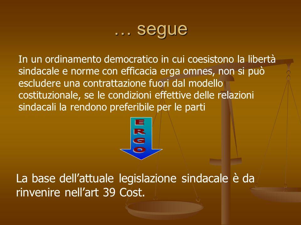 … segue In un ordinamento democratico in cui coesistono la libertà sindacale e norme con efficacia erga omnes, non si può escludere una contrattazione