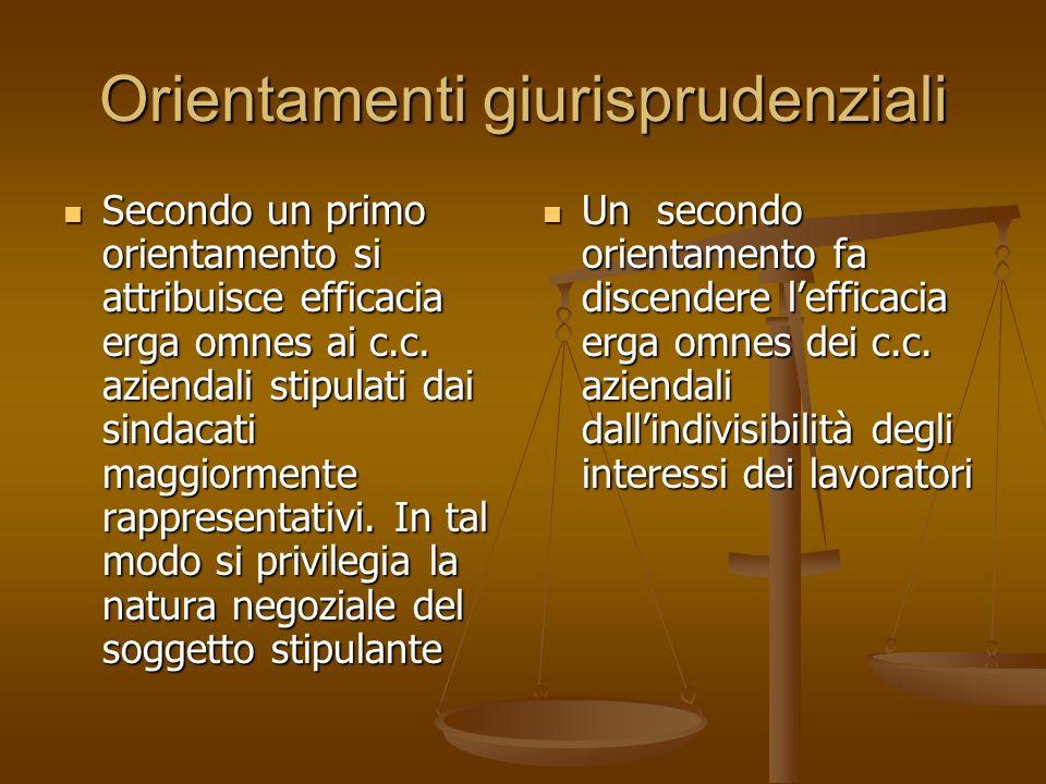 Orientamenti giurisprudenziali Un secondo orientamento fa discendere lefficacia erga omnes dei c.c. aziendali dallindivisibilità degli interessi dei l