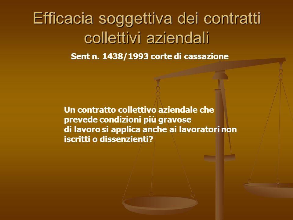 Efficacia soggettiva dei contratti collettivi aziendali Sent n. 1438/1993 corte di cassazione Un contratto collettivo aziendale che prevede condizioni