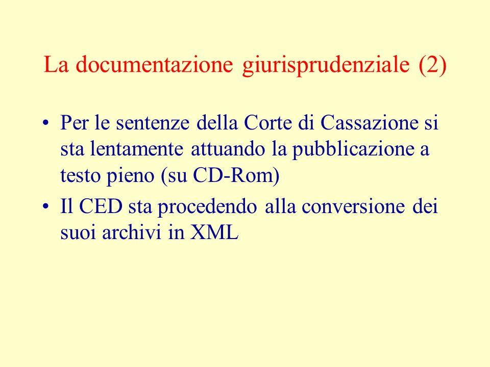 La documentazione giurisprudenziale (2) Per le sentenze della Corte di Cassazione si sta lentamente attuando la pubblicazione a testo pieno (su CD-Rom