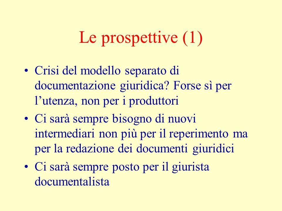 Le prospettive (1) Crisi del modello separato di documentazione giuridica? Forse sì per lutenza, non per i produttori Ci sarà sempre bisogno di nuovi