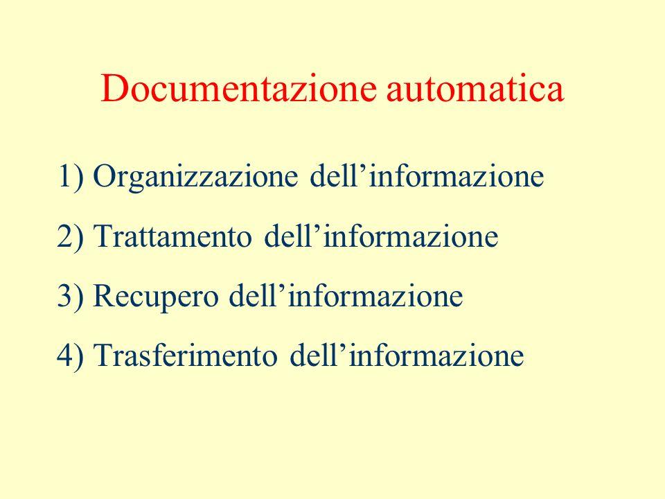 Documentazione automatica 1) Organizzazione dellinformazione 2) Trattamento dellinformazione 3) Recupero dellinformazione 4) Trasferimento dellinforma