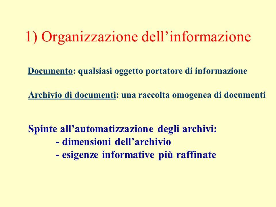1) Organizzazione dellinformazione Documento: qualsiasi oggetto portatore di informazione Archivio di documenti: una raccolta omogenea di documenti Sp
