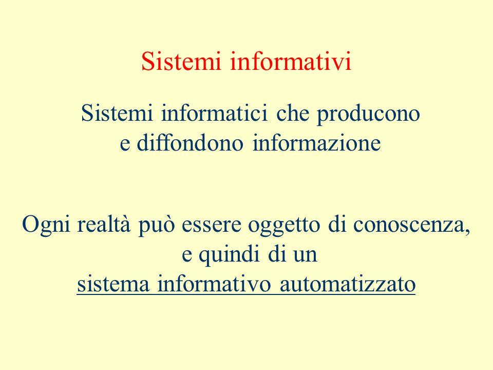 Sistemi informativi Sistemi informatici che producono e diffondono informazione Ogni realtà può essere oggetto di conoscenza, e quindi di un sistema i
