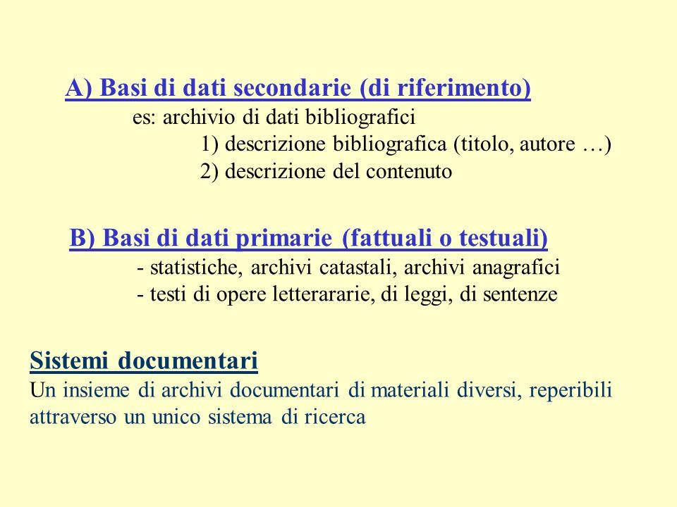A) Basi di dati secondarie (di riferimento) es: archivio di dati bibliografici 1) descrizione bibliografica (titolo, autore …) 2) descrizione del cont