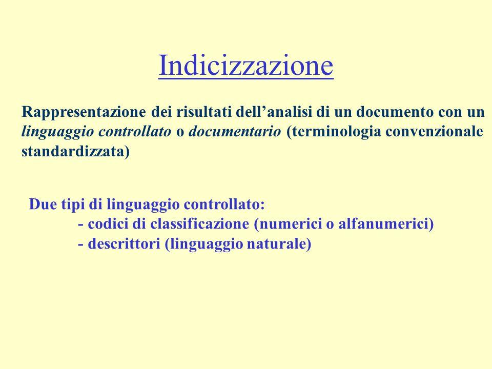 Indicizzazione Rappresentazione dei risultati dellanalisi di un documento con un linguaggio controllato o documentario (terminologia convenzionale sta