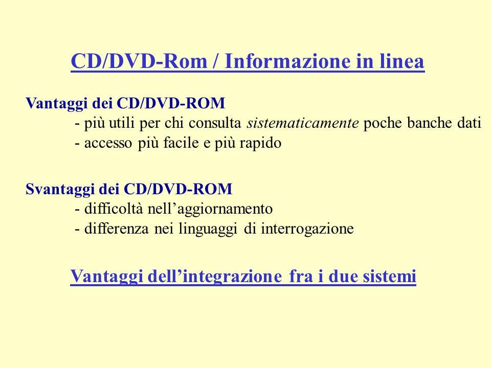 Vantaggi dei CD/DVD-ROM - più utili per chi consulta sistematicamente poche banche dati - accesso più facile e più rapido Svantaggi dei CD/DVD-ROM - difficoltà nellaggiornamento - differenza nei linguaggi di interrogazione CD/DVD-Rom / Informazione in linea Vantaggi dellintegrazione fra i due sistemi