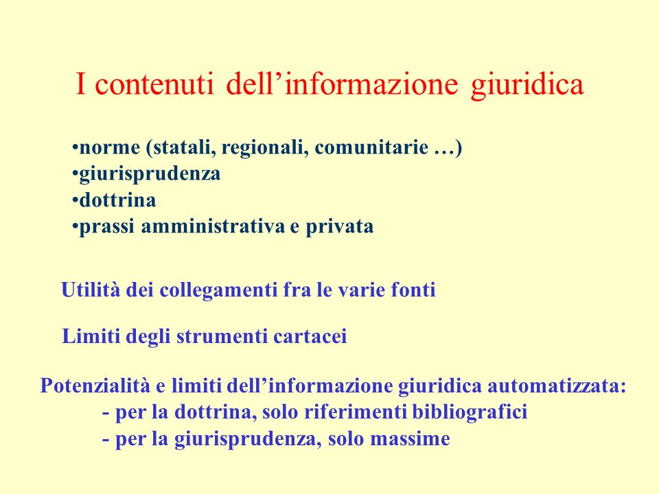 Le prospettive (2) La sfida dei contenuti culturali La cooperazione (il modello del Portale) Accessibilità e gratuità dellinformazione giuridica Cambia anche la separazione rigida tra le varie branche dellinformatica giuridica La formazione universitaria del giurista documentalista