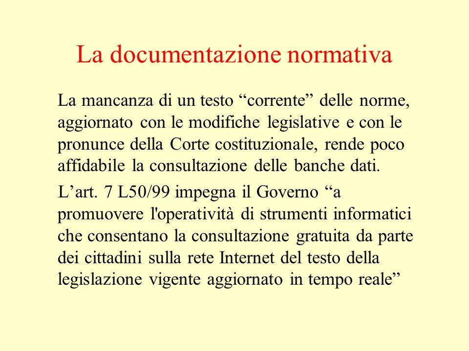 La documentazione normativa La mancanza di un testo corrente delle norme, aggiornato con le modifiche legislative e con le pronunce della Corte costit