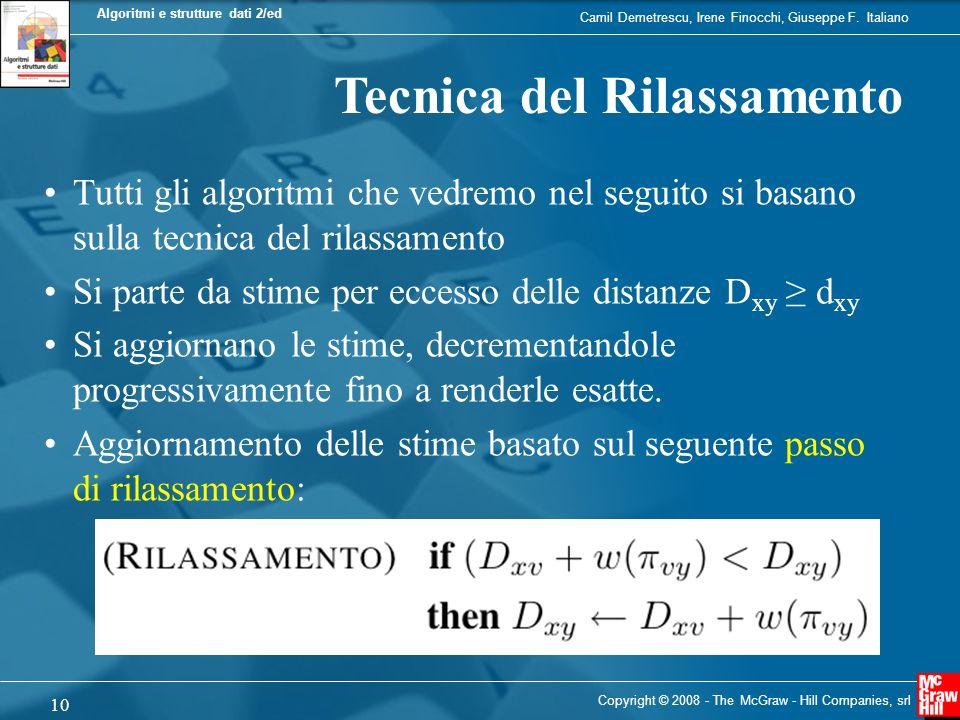 Camil Demetrescu, Irene Finocchi, Giuseppe F. Italiano Algoritmi e strutture dati 2/ed 10 Copyright © 2008 - The McGraw - Hill Companies, srl Tecnica