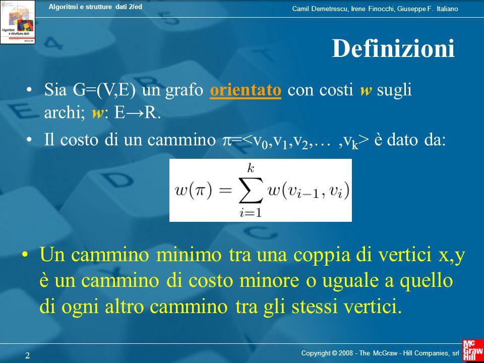 Camil Demetrescu, Irene Finocchi, Giuseppe F. Italiano Algoritmi e strutture dati 2/ed 2 Copyright © 2008 - The McGraw - Hill Companies, srl Definizio
