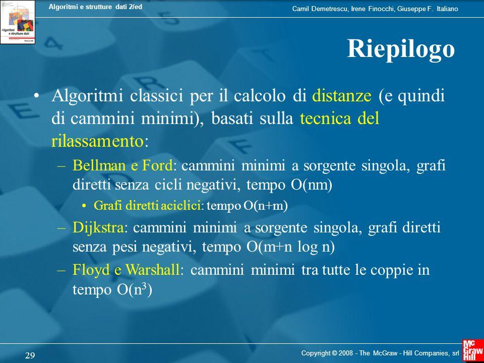 Camil Demetrescu, Irene Finocchi, Giuseppe F. Italiano Algoritmi e strutture dati 2/ed 29 Copyright © 2008 - The McGraw - Hill Companies, srl Riepilog