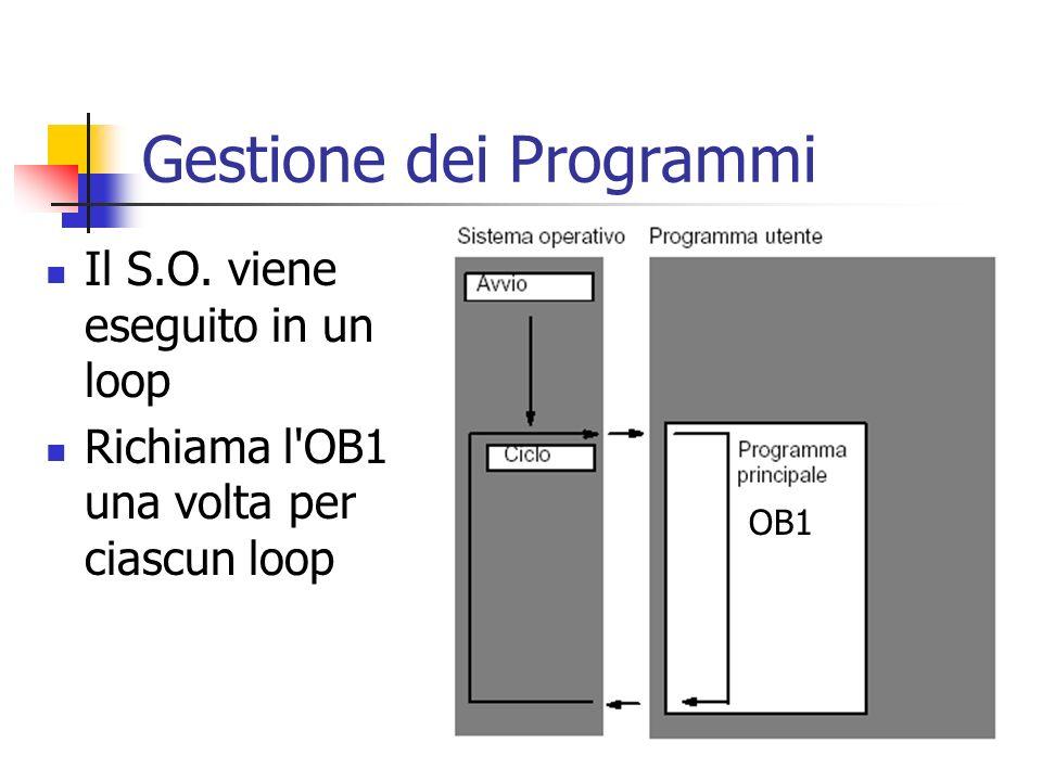 Gestione dei Programmi Il S.O. viene eseguito in un loop Richiama l'OB1 una volta per ciascun loop OB1