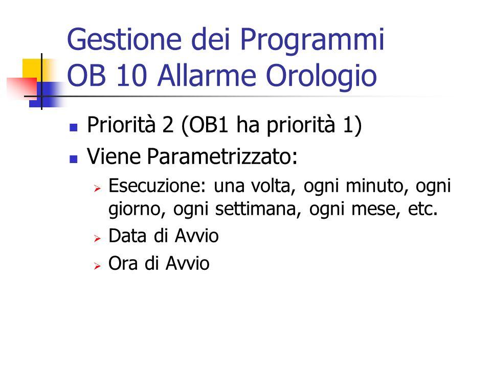 Gestione dei Programmi OB 10 Allarme Orologio Priorità 2 (OB1 ha priorità 1) Viene Parametrizzato: Esecuzione: una volta, ogni minuto, ogni giorno, og