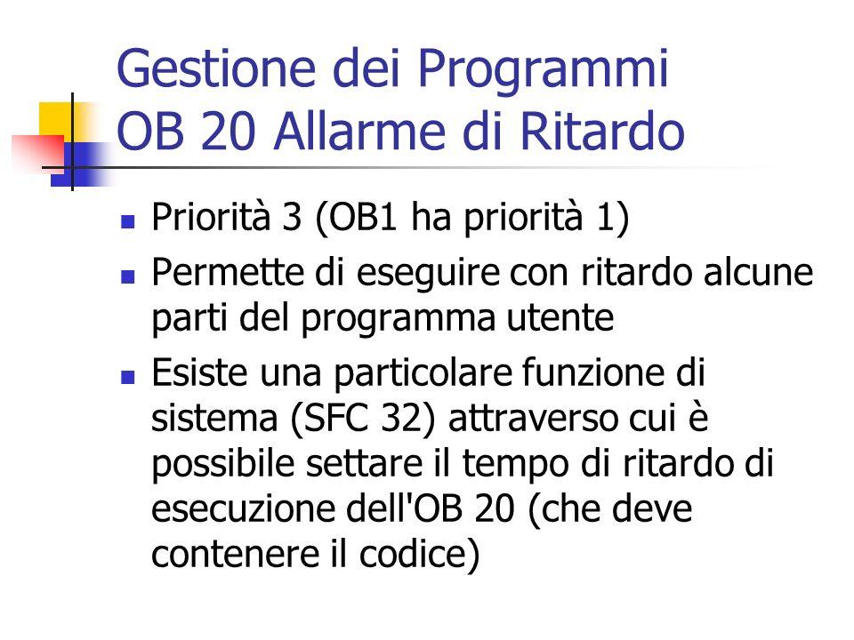 Gestione dei Programmi OB 20 Allarme di Ritardo Priorità 3 (OB1 ha priorità 1) Permette di eseguire con ritardo alcune parti del programma utente Esis