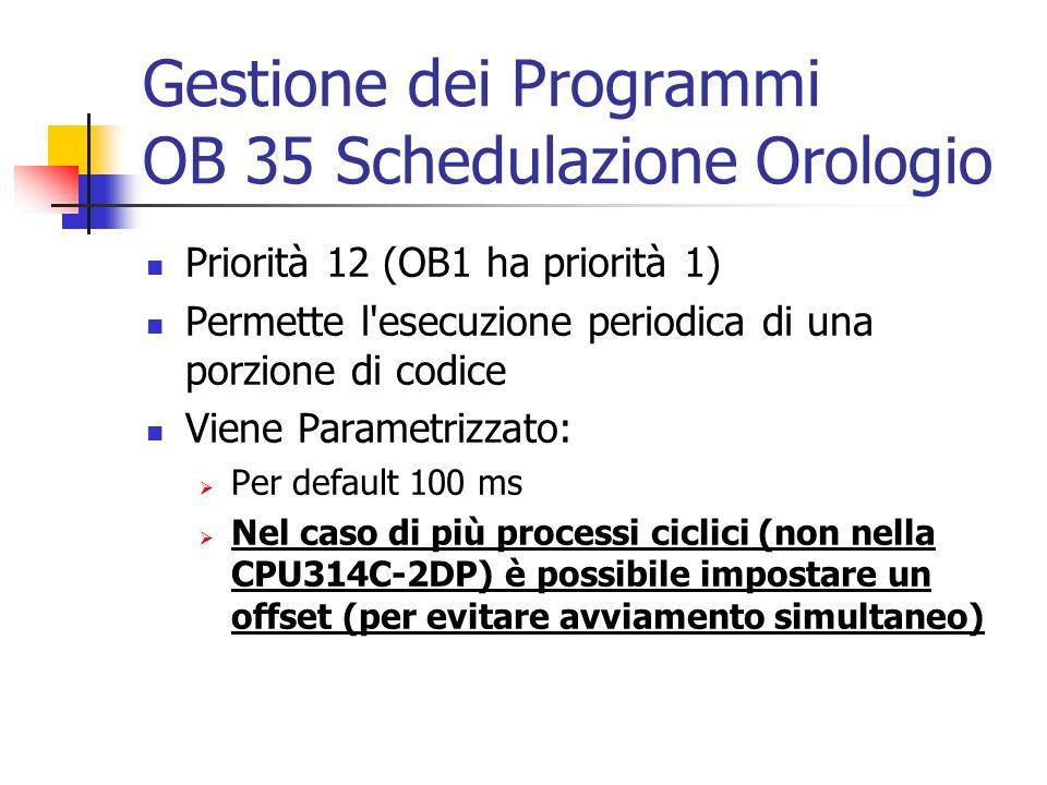Gestione dei Programmi OB 35 Schedulazione Orologio Priorità 12 (OB1 ha priorità 1) Permette l'esecuzione periodica di una porzione di codice Viene Pa