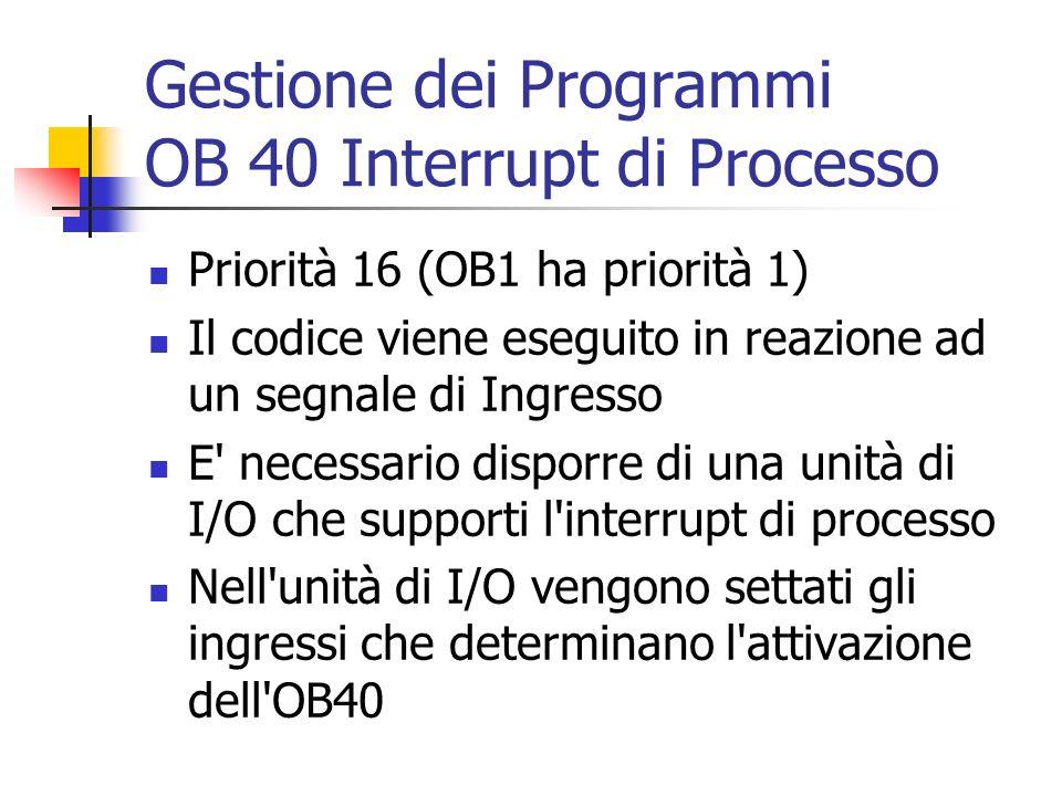 Gestione dei Programmi OB 40 Interrupt di Processo Priorità 16 (OB1 ha priorità 1) Il codice viene eseguito in reazione ad un segnale di Ingresso E' n