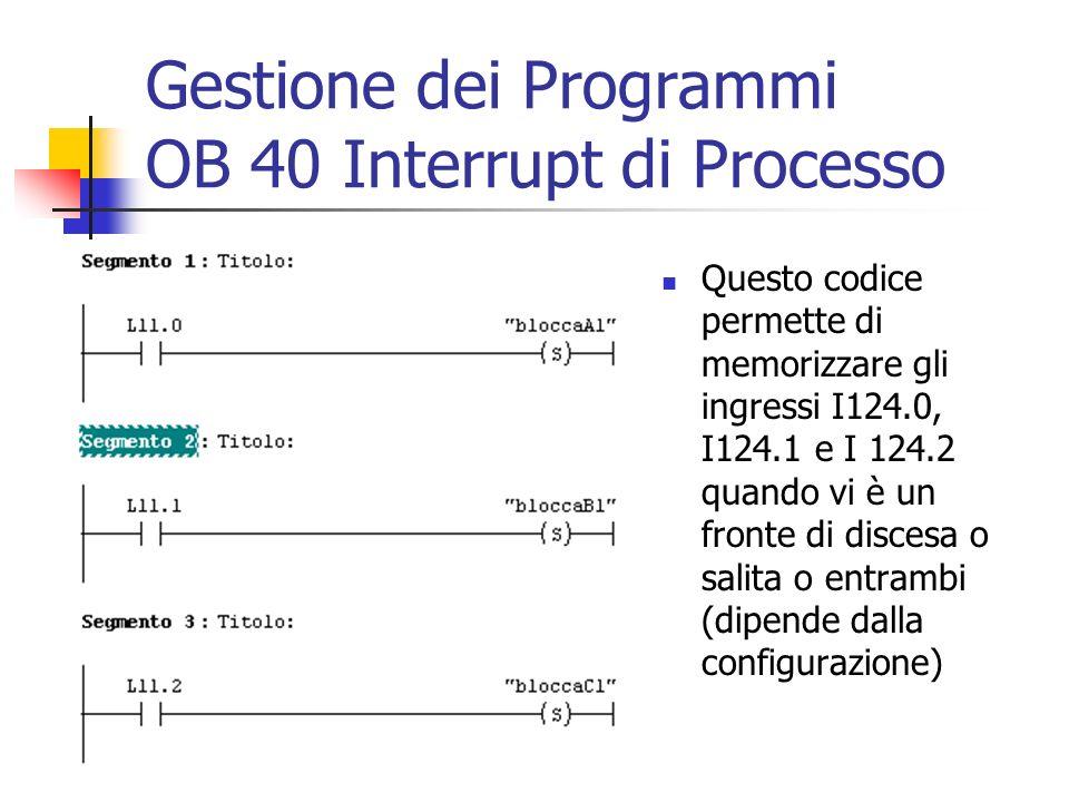 Gestione dei Programmi OB 40 Interrupt di Processo Questo codice permette di memorizzare gli ingressi I124.0, I124.1 e I 124.2 quando vi è un fronte d