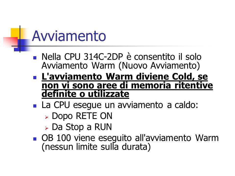 Avviamento Nella CPU 314C-2DP è consentito il solo Avviamento Warm (Nuovo Avviamento) L'avviamento Warm diviene Cold, se non vi sono aree di memoria r