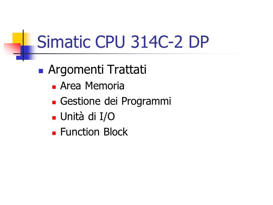 Avviamento Nella CPU 314C-2DP è consentito il solo Avviamento Warm (Nuovo Avviamento) L avviamento Warm diviene Cold, se non vi sono aree di memoria ritentive definite o utilizzate La CPU esegue un avviamento a caldo: Dopo RETE ON Da Stop a RUN OB 100 viene eseguito all avviamento Warm (nessun limite sulla durata)