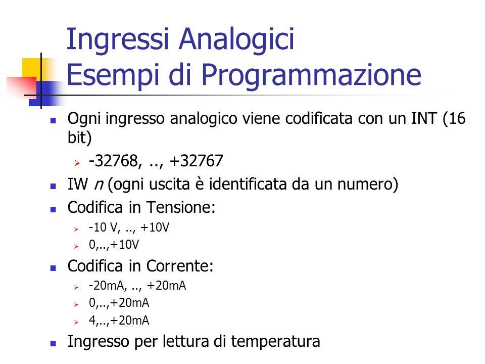 Ingressi Analogici Esempi di Programmazione Ogni ingresso analogico viene codificata con un INT (16 bit) -32768,.., +32767 IW n (ogni uscita è identif