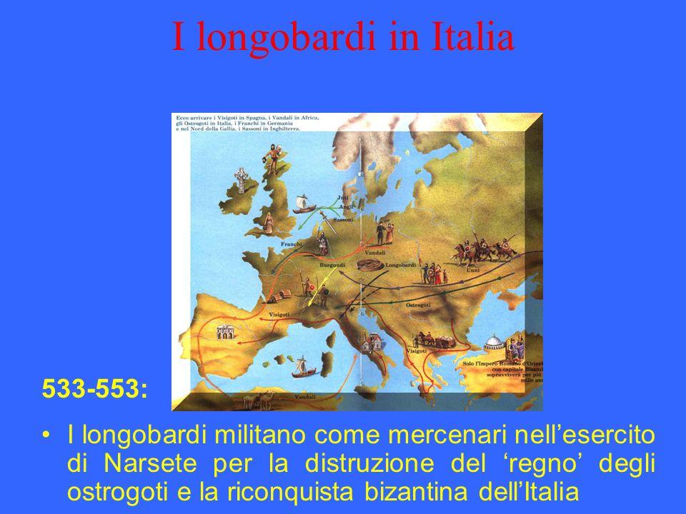 I longobardi in Italia I longobardi militano come mercenari nellesercito di Narsete per la distruzione del regno degli ostrogoti e la riconquista biza