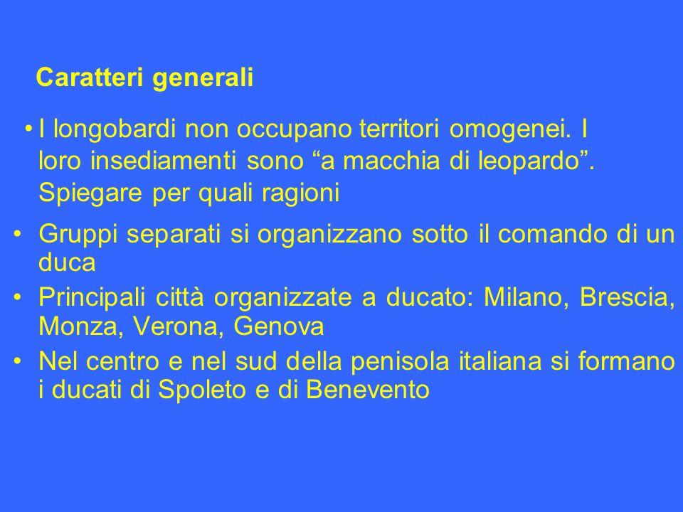 Gruppi separati si organizzano sotto il comando di un duca Principali città organizzate a ducato: Milano, Brescia, Monza, Verona, Genova Nel centro e