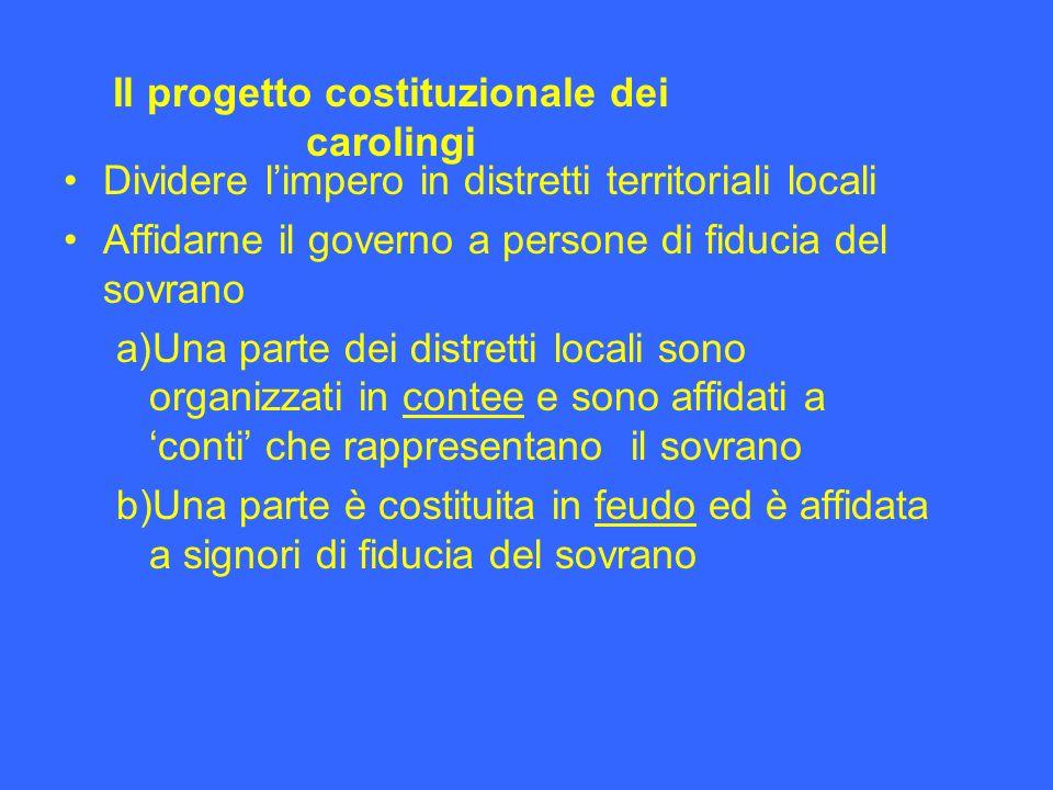 Dividere limpero in distretti territoriali locali Affidarne il governo a persone di fiducia del sovrano a) Una parte dei distretti locali sono organiz