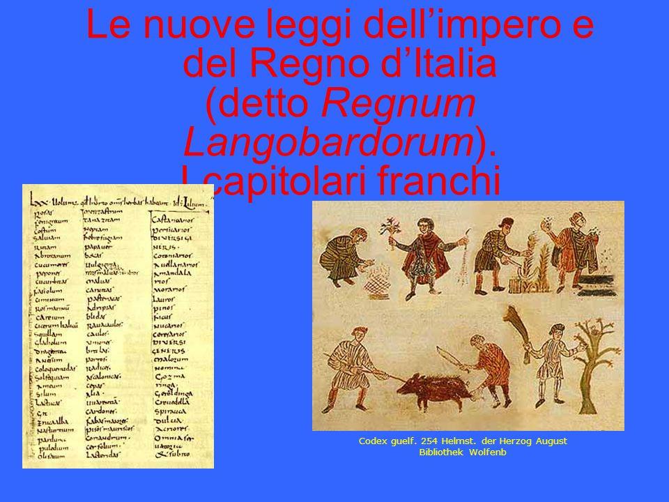 Le nuove leggi dellimpero e del Regno dItalia (detto Regnum Langobardorum). I capitolari franchi Codex guelf. 254 Helmst. der Herzog August Bibliothek