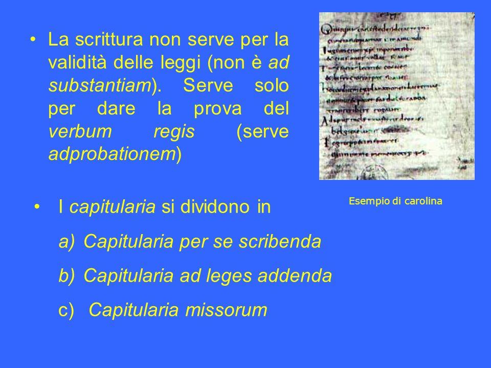 La scrittura non serve per la validità delle leggi (non è ad substantiam). Serve solo per dare la prova del verbum regis (serve adprobationem) I capit