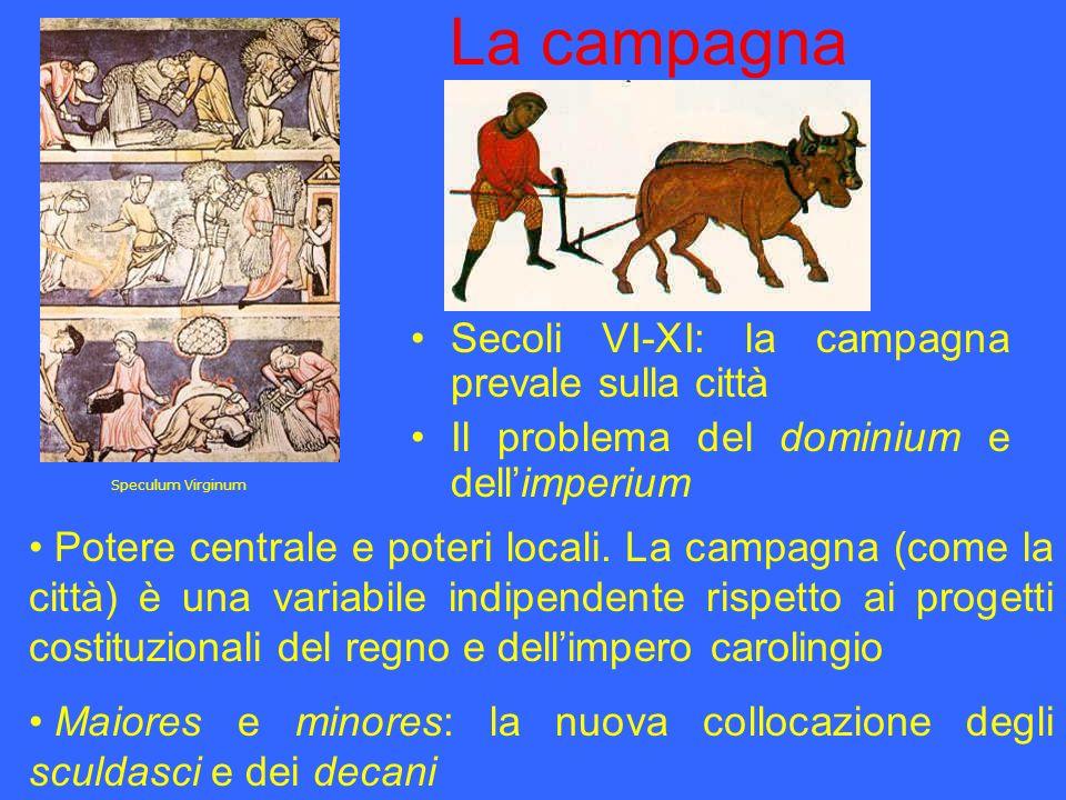 La campagna Secoli VI-XI: la campagna prevale sulla città Il problema del dominium e dellimperium Potere centrale e poteri locali. La campagna (come l