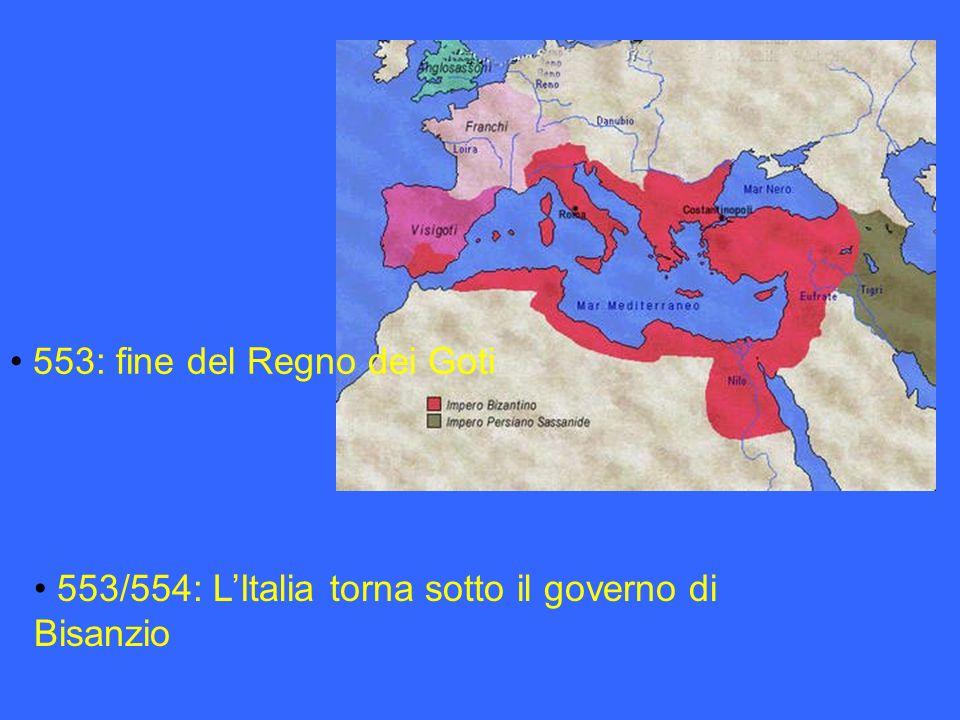 553: fine del Regno dei Goti 553/554: LItalia torna sotto il governo di Bisanzio