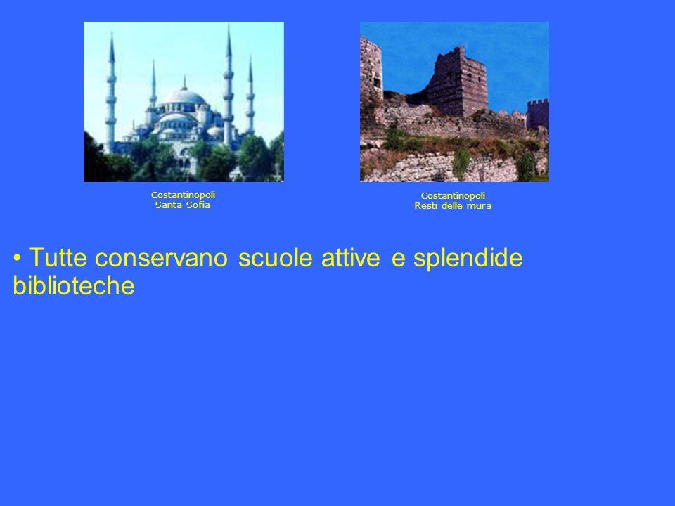 Tutte conservano scuole attive e splendide biblioteche Costantinopoli Santa Sofia Costantinopoli Resti delle mura