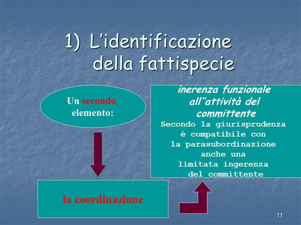 11 1)Lidentificazione della fattispecie Un secondo elemento: la coordinazione inerenza funzionale allattività del committente Secondo la giurisprudenza è compatibile con la parasubordinazione anche una limitata ingerenza del committente