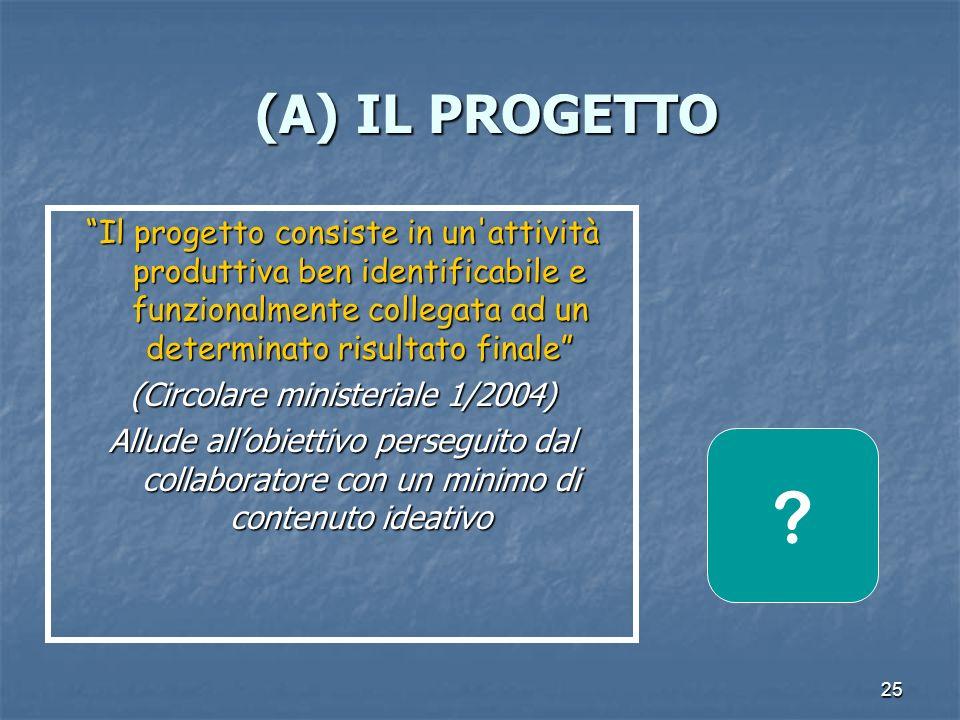 25 (A) IL PROGETTO (A) IL PROGETTO Il progetto consiste in un attività produttiva ben identificabile e funzionalmente collegata ad un determinato risultato finale (Circolare ministeriale 1/2004) Allude allobiettivo perseguito dal collaboratore con un minimo di contenuto ideativo ?