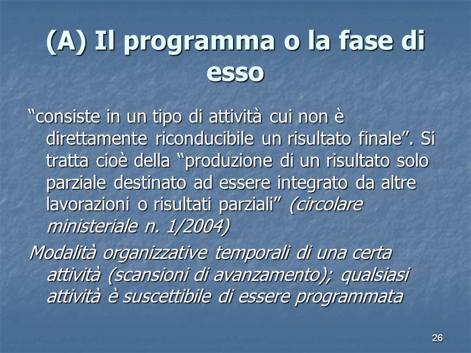 26 (A) Il programma o la fase di esso consiste in un tipo di attività cui non è direttamente riconducibile un risultato finale.