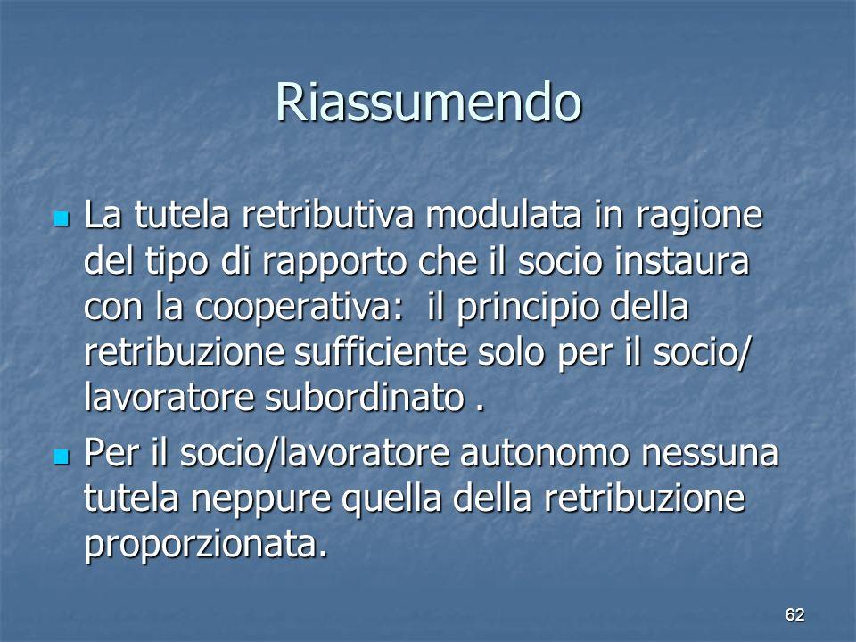 Riassumendo La tutela retributiva modulata in ragione del tipo di rapporto che il socio instaura con la cooperativa: il principio della retribuzione sufficiente solo per il socio/ lavoratore subordinato.
