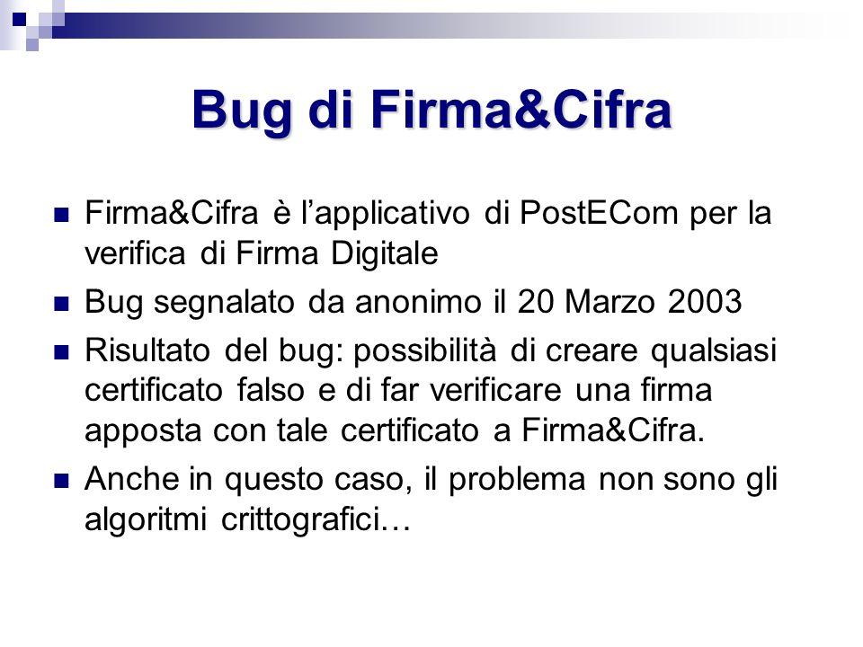Bug di Firma&Cifra Firma&Cifra è lapplicativo di PostECom per la verifica di Firma Digitale Bug segnalato da anonimo il 20 Marzo 2003 Risultato del bu