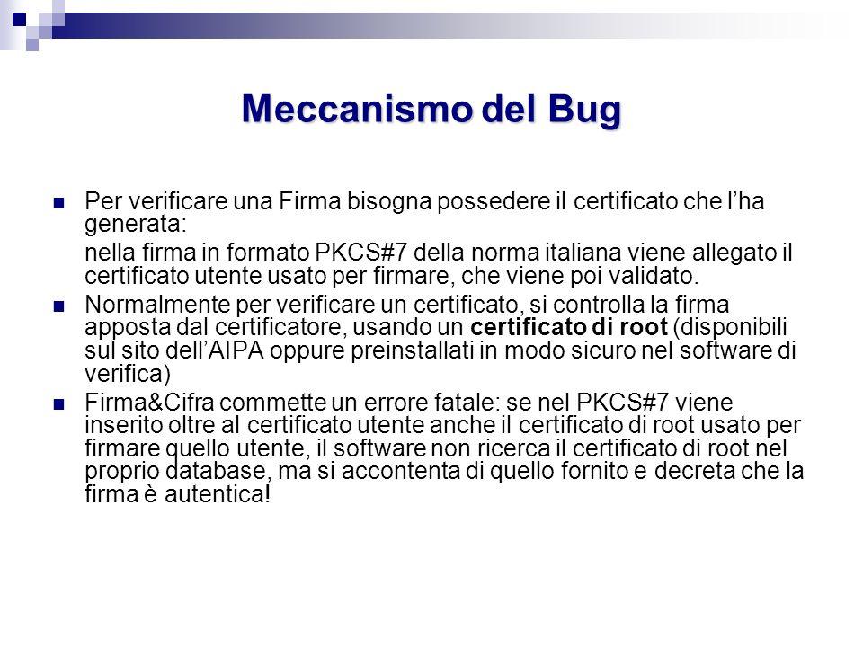 Meccanismo del Bug Per verificare una Firma bisogna possedere il certificato che lha generata: nella firma in formato PKCS#7 della norma italiana vien