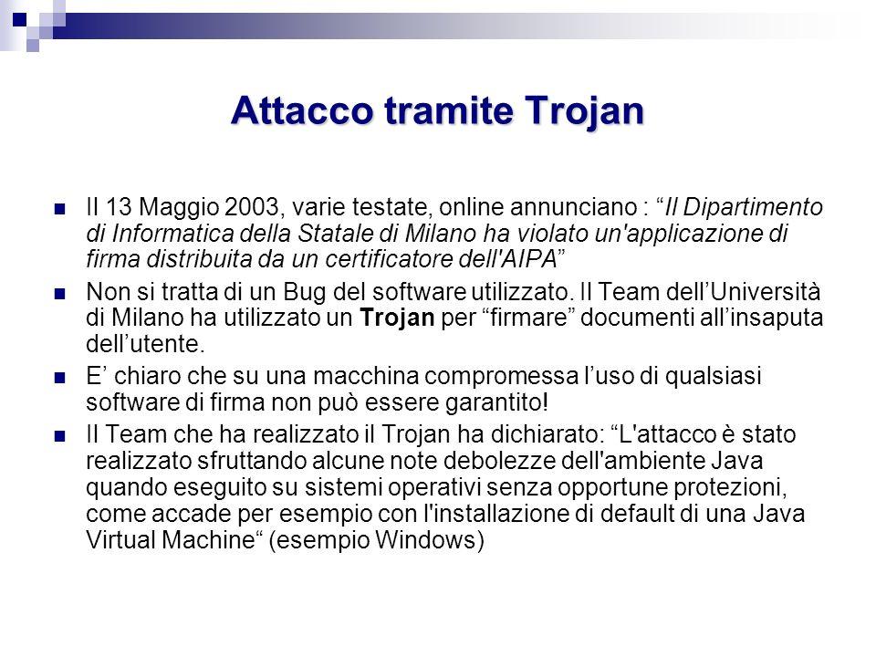 Attacco tramite Trojan Il 13 Maggio 2003, varie testate, online annunciano : Il Dipartimento di Informatica della Statale di Milano ha violato un'appl