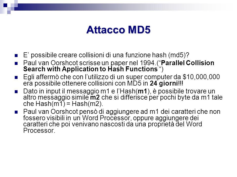 Attacco MD5 E possibile creare collisioni di una funzione hash (md5)? Paul van Oorshcot scrisse un paper nel 1994.(Parallel Collision Search with Appl