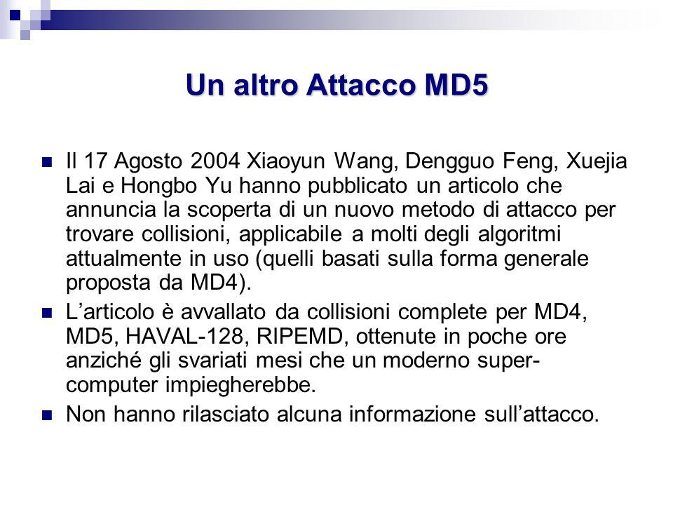 Un altro Attacco MD5 Il 17 Agosto 2004 Xiaoyun Wang, Dengguo Feng, Xuejia Lai e Hongbo Yu hanno pubblicato un articolo che annuncia la scoperta di un
