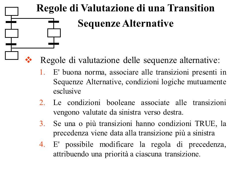 Regole di valutazione delle sequenze alternative: 1.E' buona norma, associare alle transizioni presenti in Sequenze Alternative, condizioni logiche mu