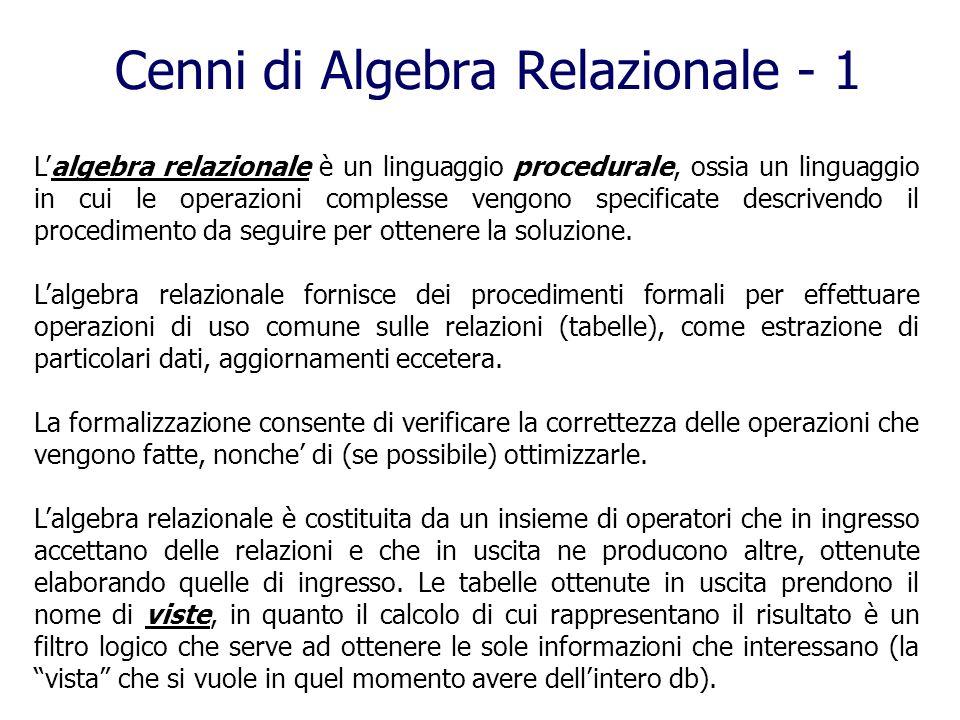Cenni di Algebra Relazionale - 1 Lalgebra relazionale è un linguaggio procedurale, ossia un linguaggio in cui le operazioni complesse vengono specific