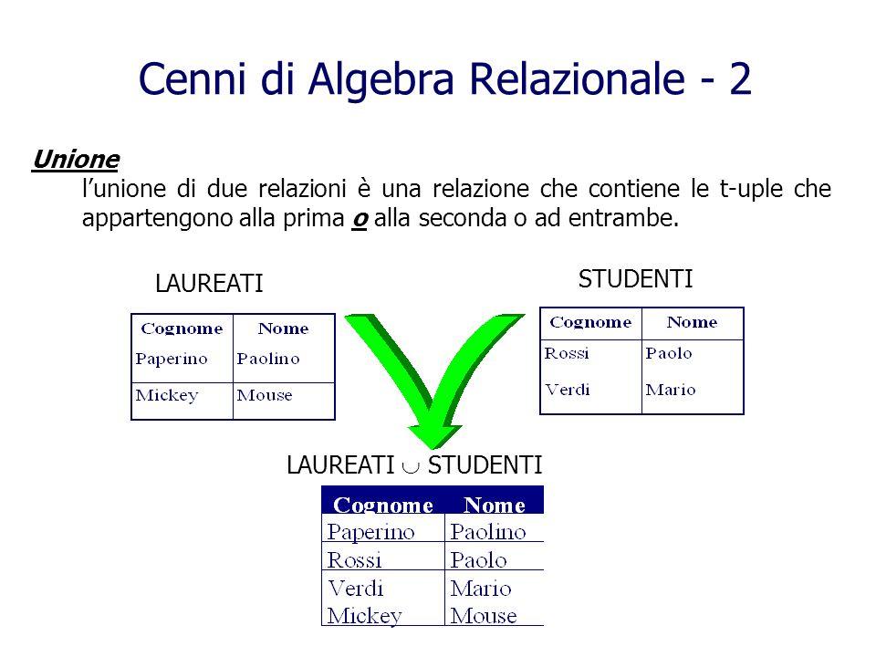 Cenni di Algebra Relazionale - 2 Unione lunione di due relazioni è una relazione che contiene le t-uple che appartengono alla prima o alla seconda o a